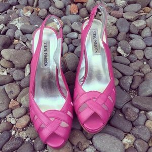 Steven Madden Pink Wedge Sandals